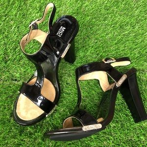 MICHAEL KORS black and clear lucite heels